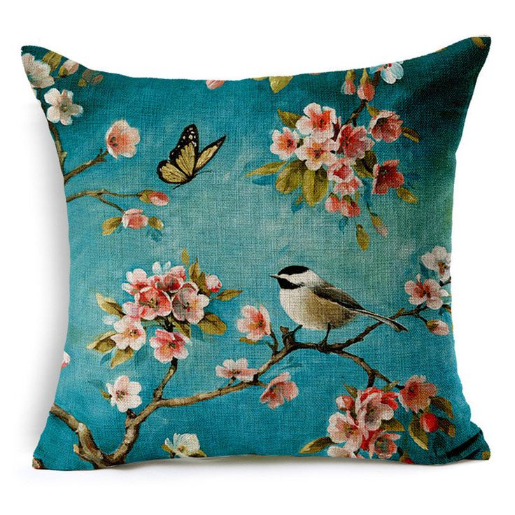 Flowers Print Cotton Linen Square Cushion Sofa Throw Pillow case Home Decorative