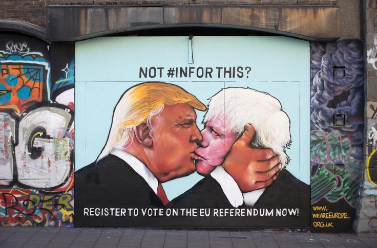 A mural of Donald Trump locked in a kiss with Boris Johnson has been painted in Bristol.     It has been painted on a derelict building in Stokes Croft, Bristol by the group We Are Europe in a bid to encourage voters to vote to stay in the European Union.