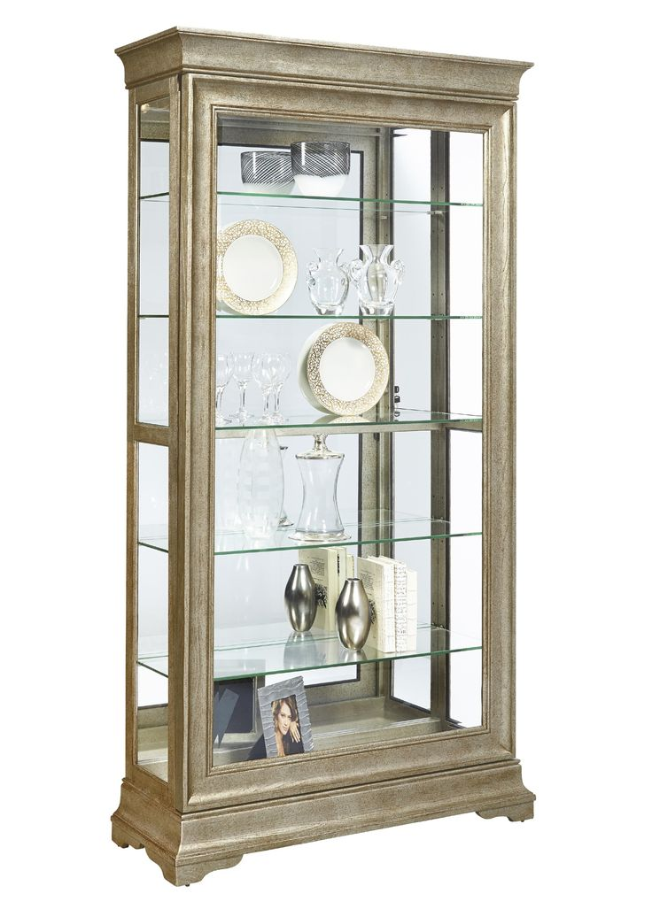 Lyon Curio Cabinet in Distressed Wood Finish by Pulaski - Home Gallery Stores