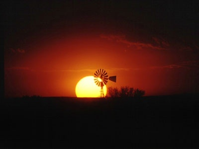 Karoo Windmill at sunset