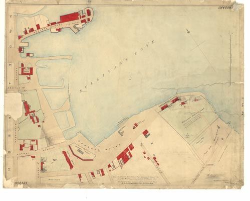 Historic Hobart, Tasmania 1840 - This plan is potentially a reasonably accurate depiction of what was known as the 'Port of Hobart Town'. The plan depicts the 'filling in of the new wharf', Merchant stores (numbered 1) and Crown interests at the time. The plan also clarifies the original position of the Commisariat Stores and Commisariat Office in and around the Dunne Street site of the Tasmanian Museum and Art Gallery.