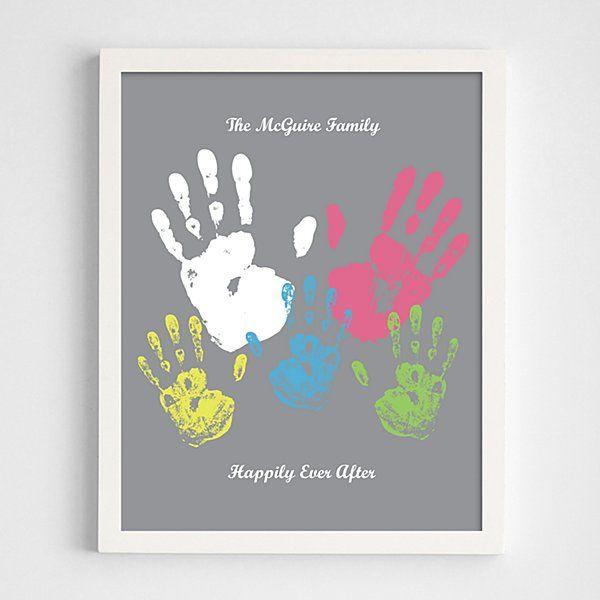 Family Handprint White Framed Print