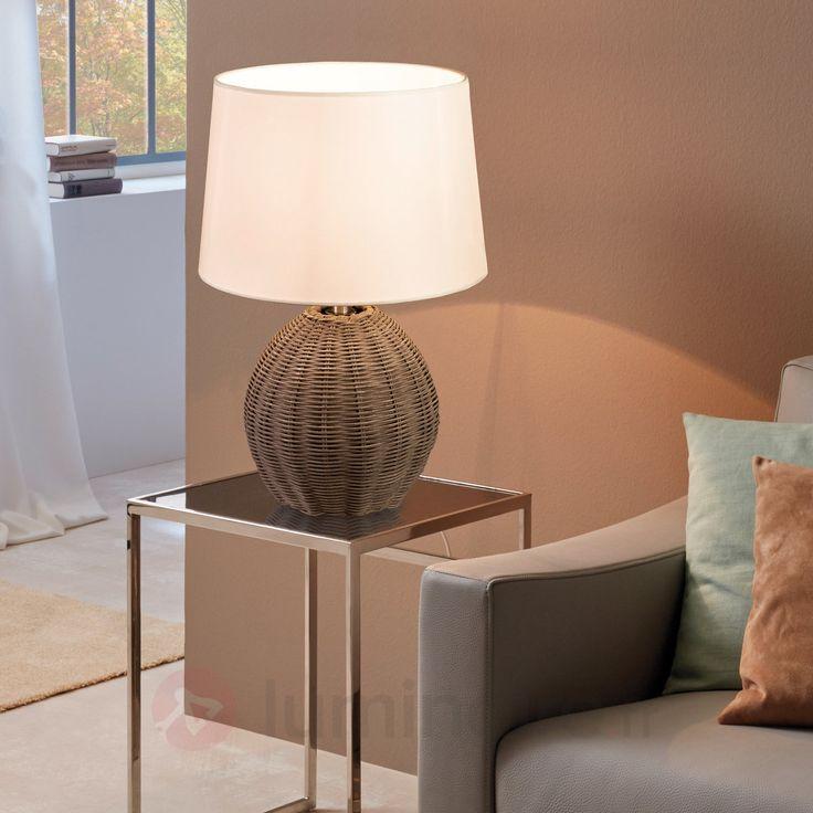 Roia - lampe à poser textile avec pied tressé, référence 3031558 - Lampes et luminaires en bois  - Esprit nature à découvrir chez Luminaire.fr !