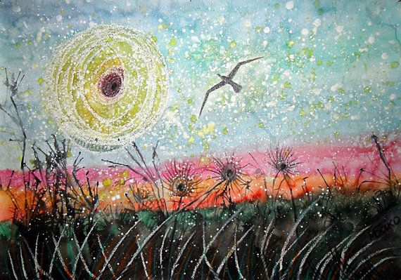 Scope, sky, sun, nature painting