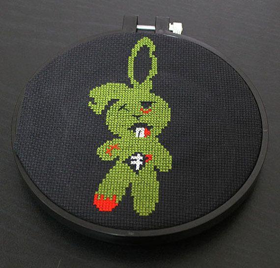 Zombie Bunny Rabbit Horror Cross Stitch by spotyourcolors on Etsy