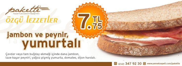 Jambon ve Peynir, YUMURTALI: 7.75TL  (Çavdar veya tam buğday ekmeği içinde dana jambon, taze kaşar peyniri, yağsız pişmiş yumurta, domates, dijon hardalı)