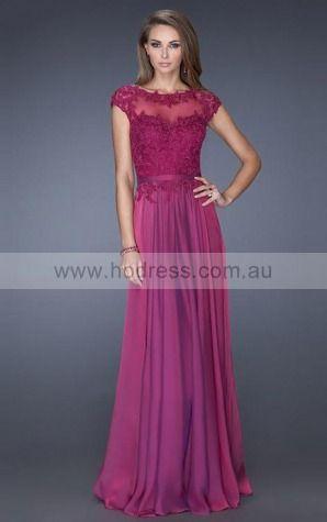 Chiffon Jewel Natural A-line Floor-length Evening Dresses abaa1054--Hodress