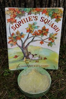 We made squash leaf prints after reading SOPHIE'S SQUASH by Pat Zietlow Miller.