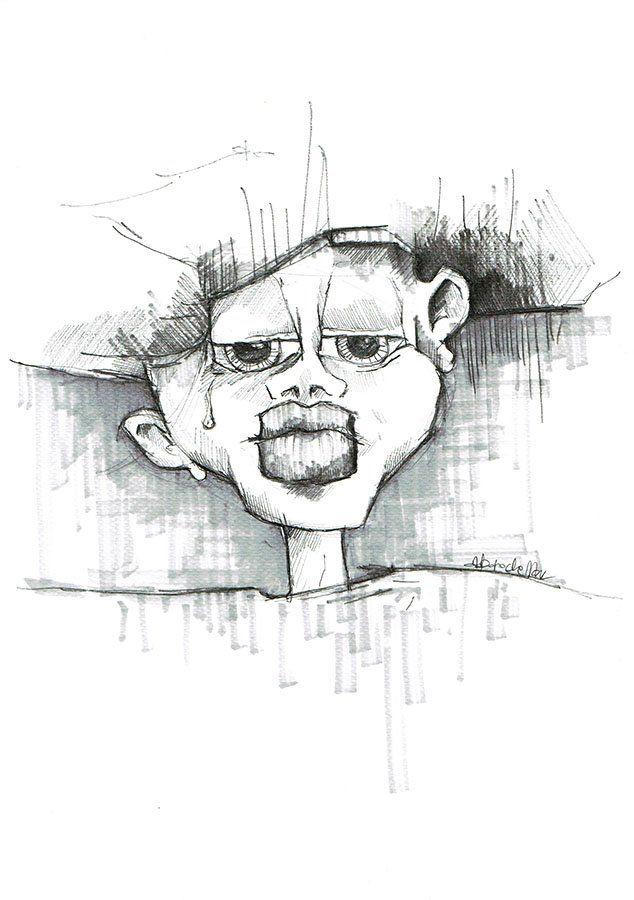 """Hand drawing """"Face"""" by Agnieszka Potocka, Studio Plama.   Rysunek odręczny ołówkiem w oprawie - Portret 2"""