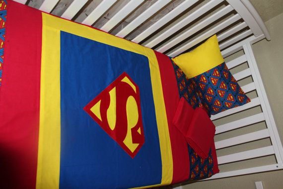 Check out this item in my Etsy shop https://www.etsy.com/listing/290771103/crib-bedding-superman-logo-5-piece-crib