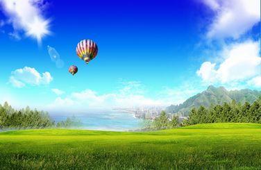 Картинка Трава,небо,фон,шар,воздушный,город