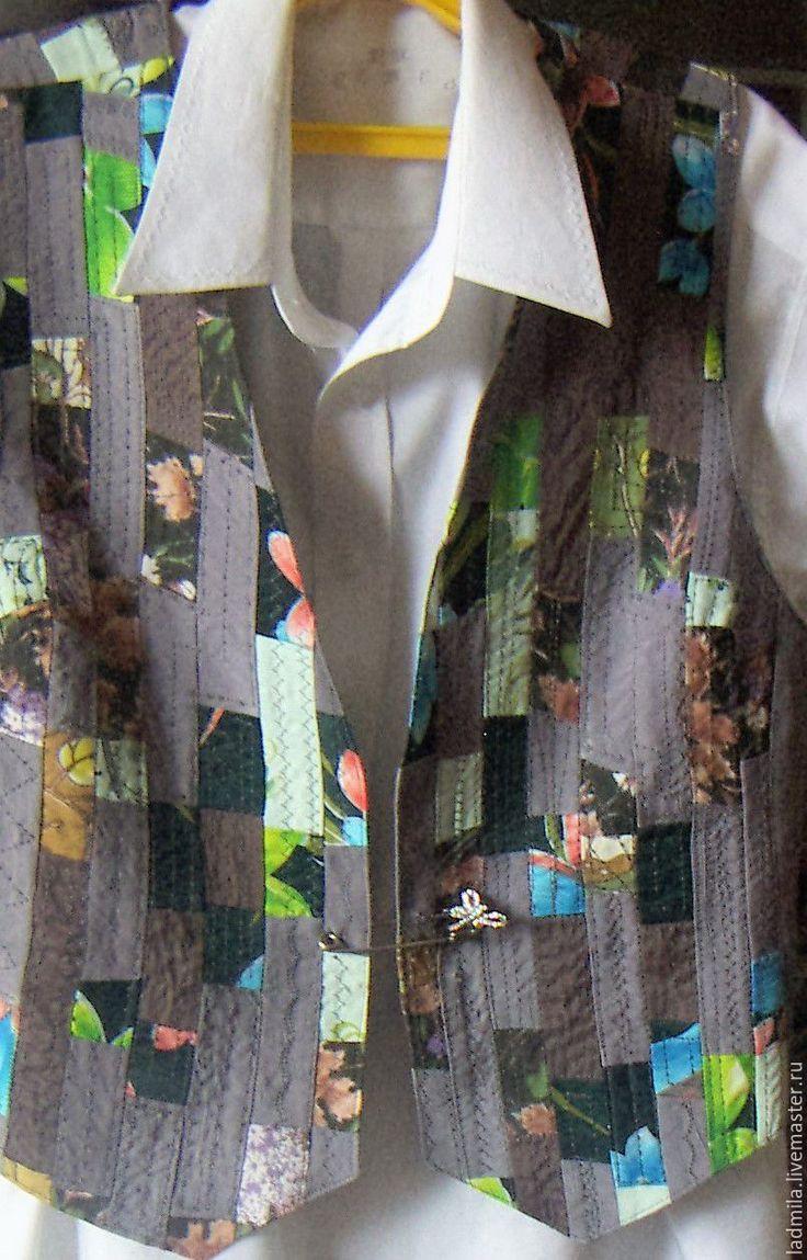 Купить Жилет в стиле печворк - комбинированный, Жилет женский, жилет, жилет…
