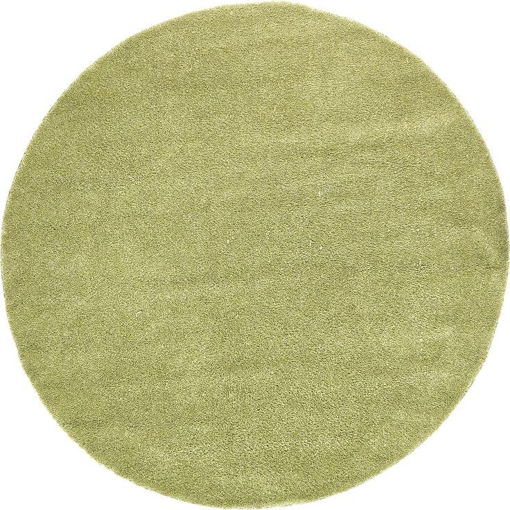 Unique Solo Solid Round Shag Rug (8' x 8') (Green), Size 8' x 8'