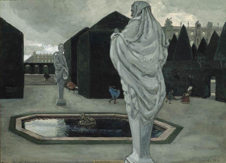 Alexandre Nikolayevich Benois (1870-1960) Fantaisie sur le thème de Versailles. 1906 Papier sur carton, plume, gouache et encre. 49 x 67 cm La galerie Tretiakov, Moscou