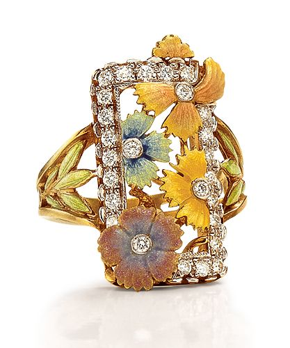 18-karat yellow gold with enameled flowers and leaves, with round brilliant-cut diamond accents. Diamond weight: approximately 0.78 ct.