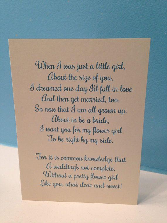 Flower Girl Poem Wedding Card  Will You Be My by BlingSparklesOhMy, $2.98