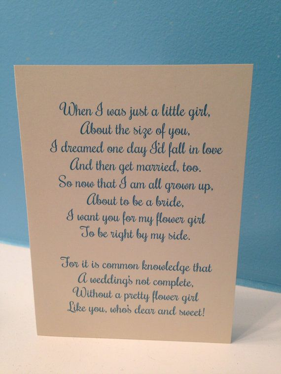 Flower Girl Poem Wedding Card  Will You Be My by BlingSparklesOhMy, $2.98
