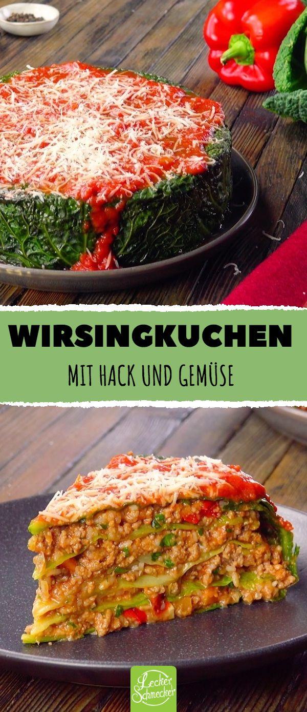 Wirsingkuchen Mit Hack und Gemüse #rezepte #wirsi…