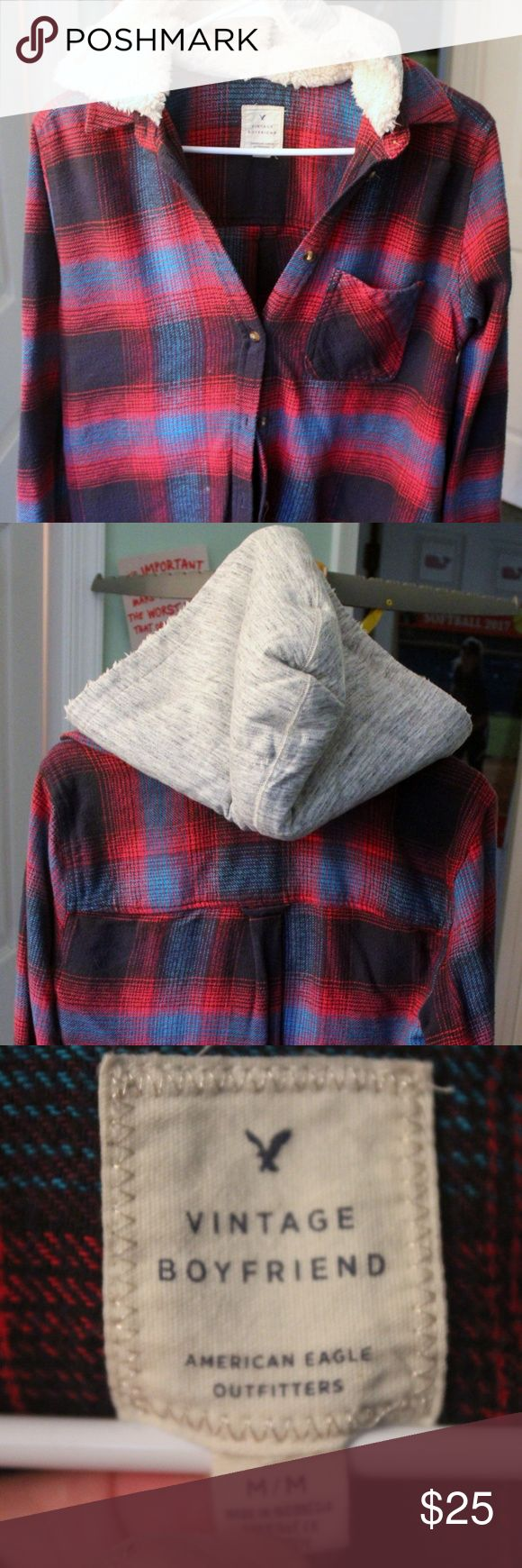American Eagle Vintage Boyfriend Hooded Flannel American Eagle Vintage Boyfriend style. Red and Blue plaid Flannel with lined hood to create the effect of a jacket. Soft cotton flannel material with buttons at the cuff. Can be worn as a light jacket. Hood is very soft. Runs trues to size - size Medium American Eagle Outfitters Tops