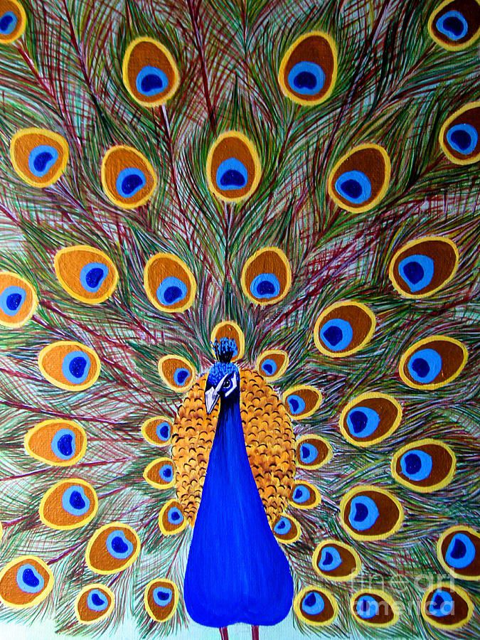 Peacock By Monica Bhattacharya Peacock Painting