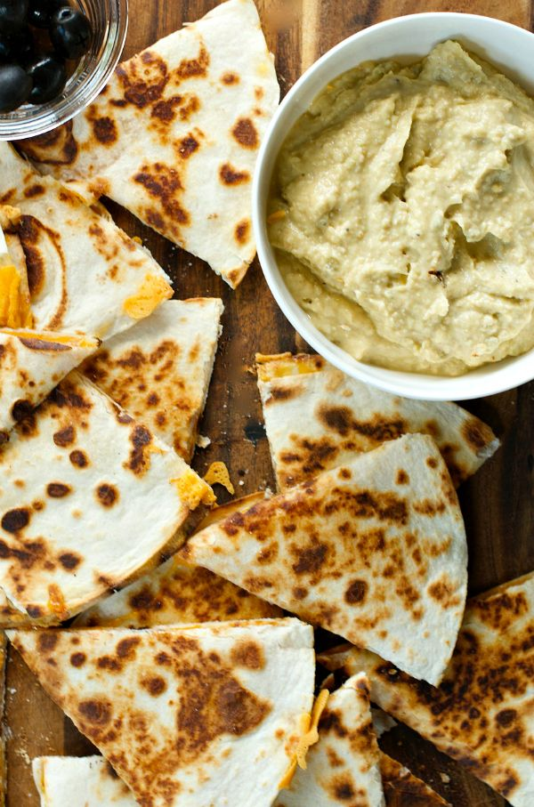 Spicy Avocado Hummus with Cheesy Quesadillas   ReluctantEntertainer