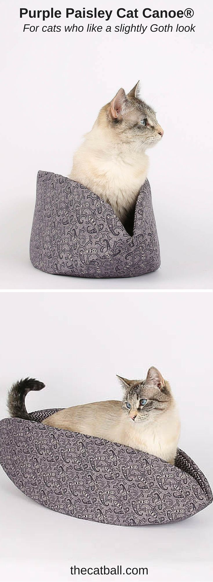 """Does your cat have a preference for a slightly Goth decor? We have the cat bed for you! The purple paisley Cat Canoe® is made with a fabric from the Riley Blake """"Mourning"""" collection, a series of fabrics based on Victorian design. This subtle, dusty purple is a nice option if you (and your cat) prefer a subdued look."""