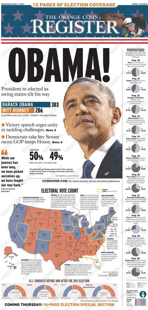 Obama's Re-Election Lead Newspaper Front Pages (PHOTOS)
