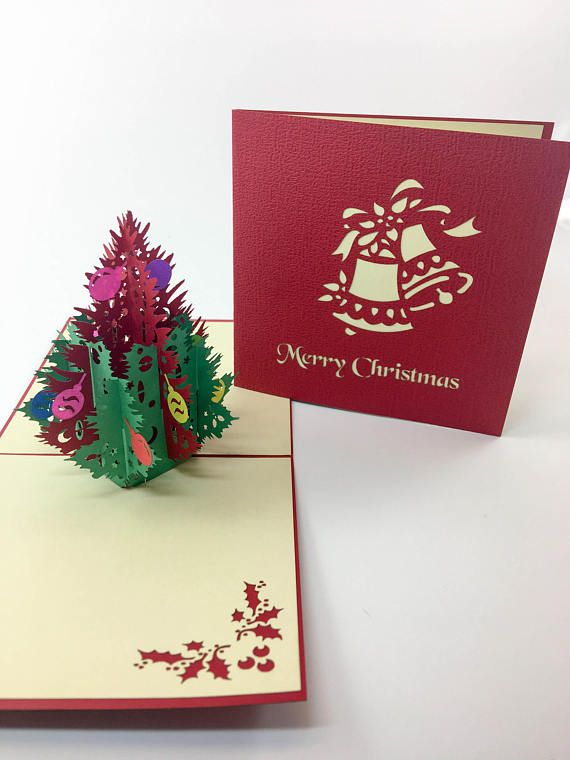 Christmas Card, Holiday, Greeting Card 3D Pop Up, Christmas Tree