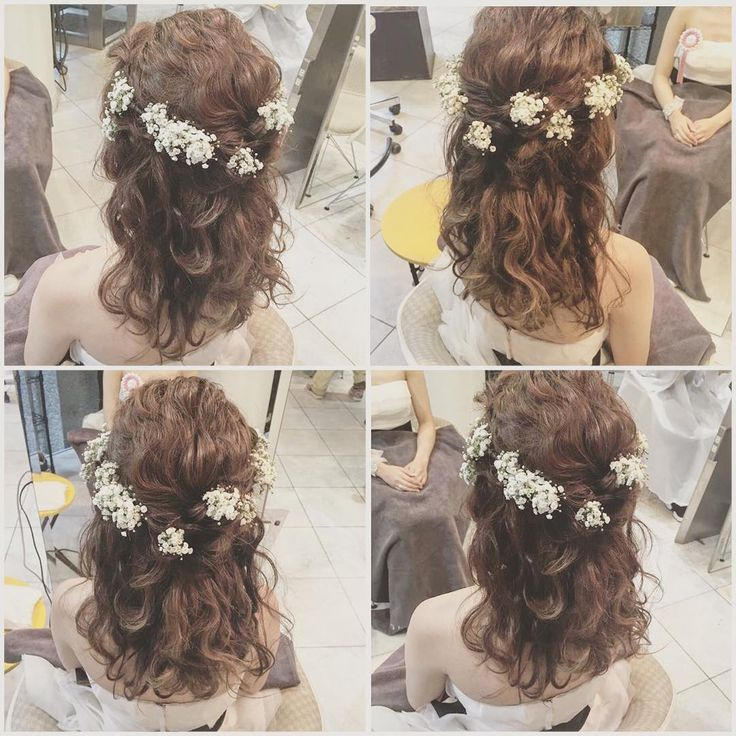 hairarrange♡  wedding♡ 花嫁さま** お色直しヘア♡  #二次会 #ミニドレス #ウエディング #結婚式 #ウエディングドレス  #ヘアアレンジ #かすみ草 #ハーフアップ #kanekoarrange