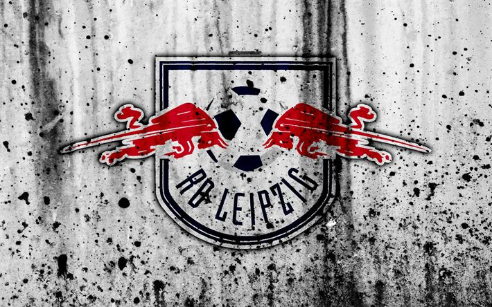 Download wallpapers FC RB Leipzig, 4k, logo, Bundesliga, stone texture, Germany, RB Leipzig, soccer, football club, RB Leipzig FC