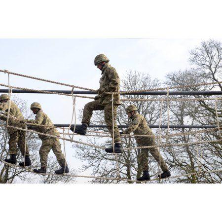 Welsh Guards perform basic training on the assault course at Sennybridge Training Area Canvas Art - Andrew ChittockStocktrek Images (35 x 23)