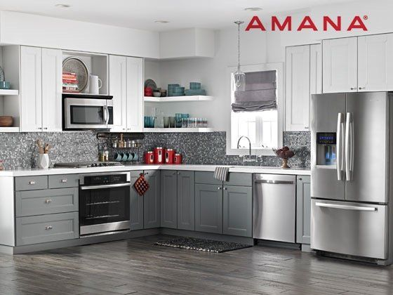 """Win a $4,150.00 36"""" wide Amana French Door Refrigerator, 30"""" Amana Gas Cooktop, 30"""" Amana Wall Oven and Amana Dishwasher. Gather 'round your NEW and IMPROVED kitchen, submit your email address to qualify."""