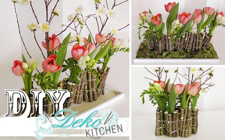 DIY: Huebsche Blumen-Deko mit Holzzweigen einfach selber machen. Hier geht's zum Anleitungs-Video!