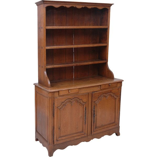 Preowned 19th Century French Cupboard Or Vaiselier In Oak ($3,200) ❤ liked on Polyvore featuring home, furniture, storage & shelves, brown, buffets, second hand furniture, brown's furniture, oak wood furniture, oakwood furniture and oak furniture