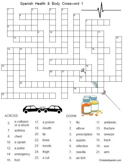 new printable spanish freebie of the day spanish health and body crossword 1 from. Black Bedroom Furniture Sets. Home Design Ideas