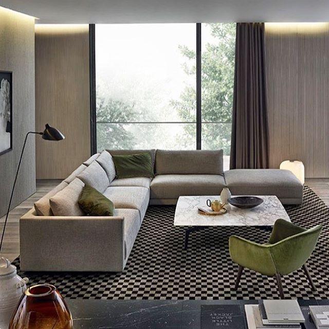 Cores neutras em estilo contemporâneo e toques modernos. Sala Bristol por Poliform, Jean-Marrie Massaud. (www.inandoutdecor.com.br) #inandoutdecor #poliform #jeanmarriemassaud