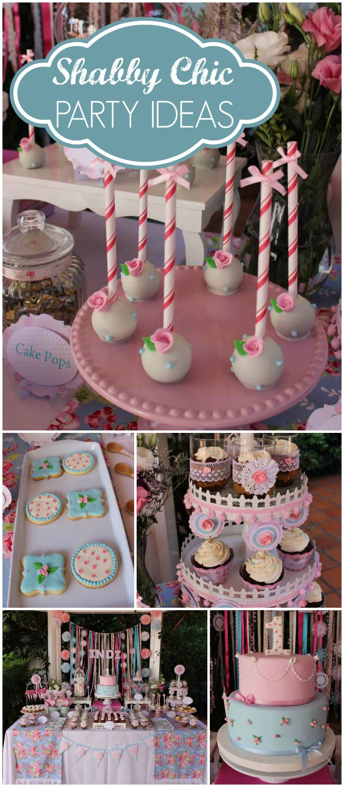 What a pretty shabby chic party! Gorgeous cake pops and cookies! See more party…