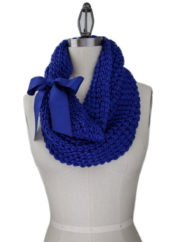 BLUE KNIT COWL soft knit cowl with grosgrain bow by gertiebaxter, $32.50