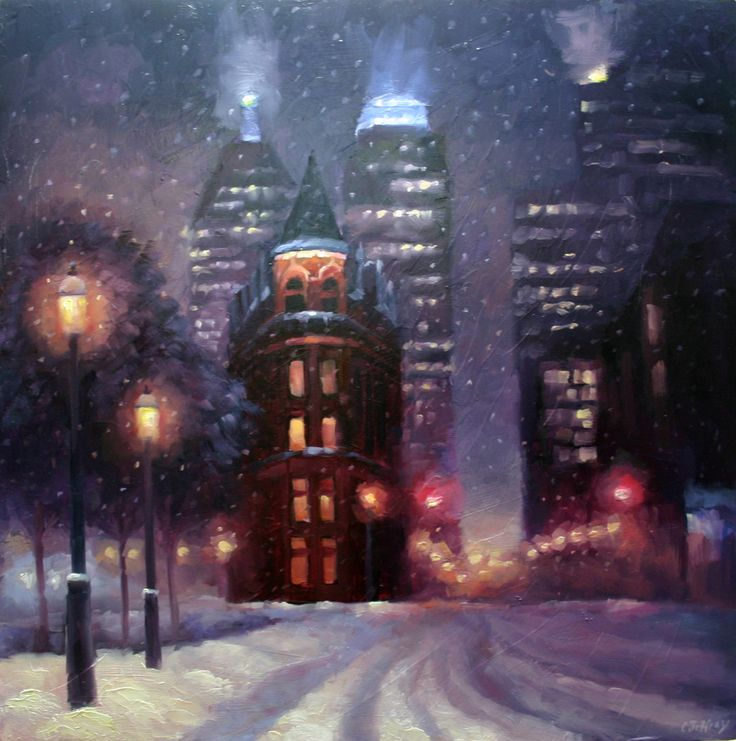Toronto's Flat Iron Building also know as the Gooderham Building in Snow. catherinejeffreystudio.com