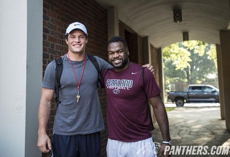 LB Luke Kuechly and RB Fozzy Whittaker - brothers in arms at Camp Wofford on July 30, 2015