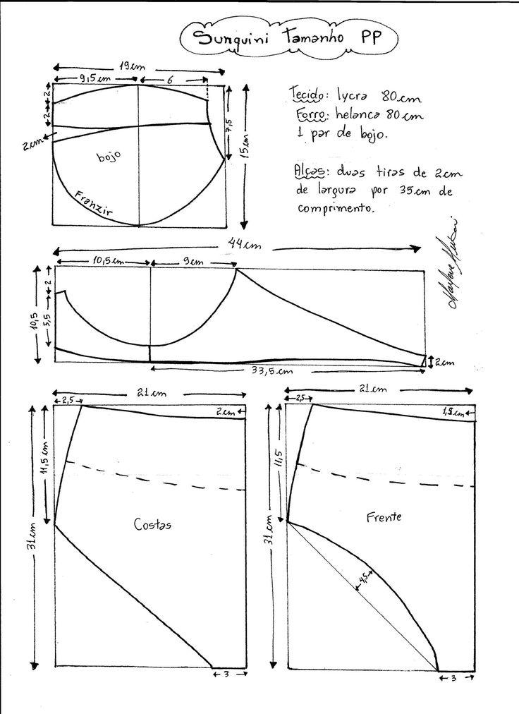 Esquema de modelagem de Biquini Retrô tipo Sunquini tamanho PP.