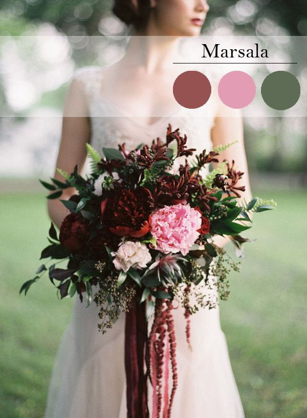 Pantone's 2015 Color or the Year - Marsala.   This Marsala inspired wedding bouquet is absolutely gorgeous!