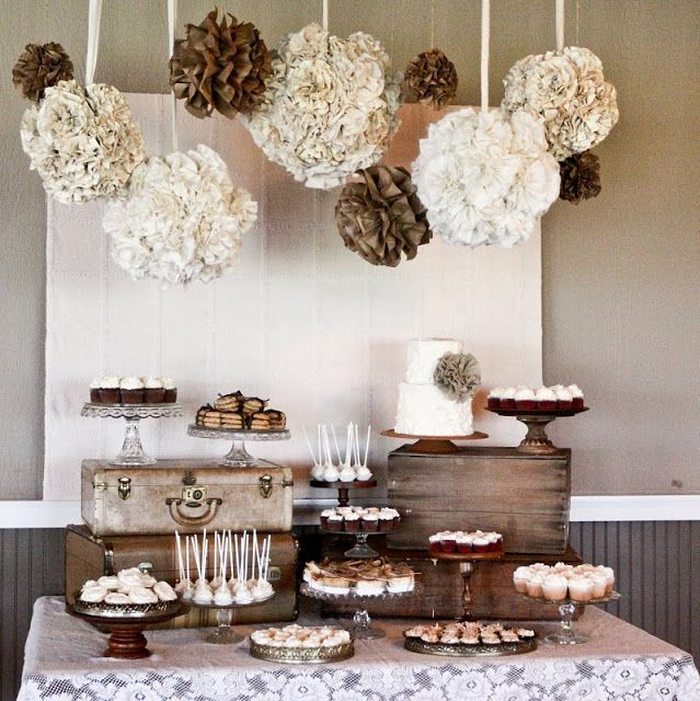 Lovely lace and burlap dessert table with overhead paper flowers and pompoms #weddingdessert #desserttable #diywedding #weddingdecor #weddingcake