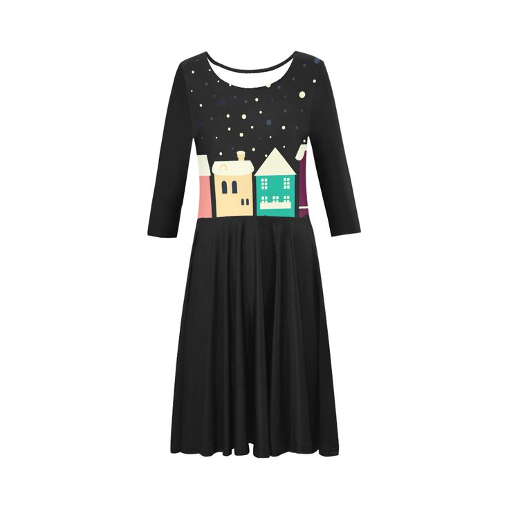 New designers Dress with hand-drawn Homes / Winter edition BLACK Elbow Sleeve Ice Skater Dress (D20).