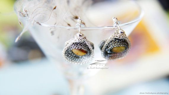 Unique Hand crocheted earrings with amber made by by ZetLine