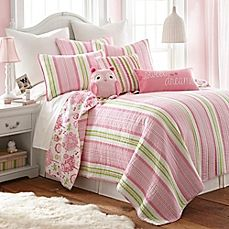 image of Levtex Home Paige Reversible Quilt Set in Pink/Green