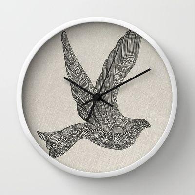 Dove illustration Wall Clock by clickybird - Belinda Gillies - $30.00