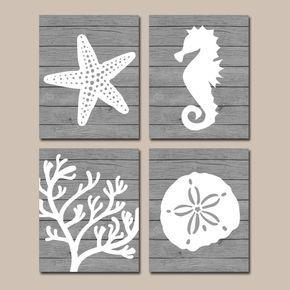 Beach BATHROOM Wall Art, CANVAS or Prints, Nautical Coastal Bathroom Decor, Aqua Starfish Seahorse, Coral Reef, Wood Plank Design, Set of 4 by TRMdesign on Etsy https://www.etsy.com/listing/188063897/beach-bathroom-wall-art-canvas-or-prints