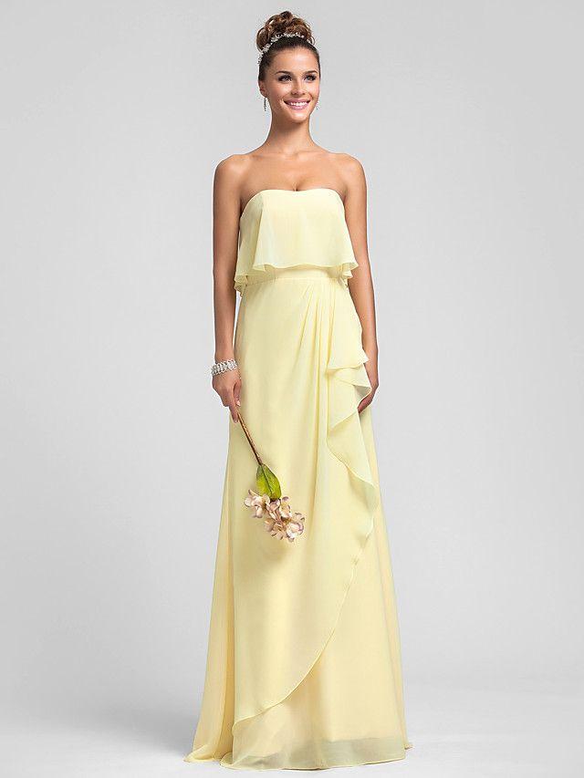 Robe de Demoiselle d'Honneur - Jonquille Fourreau Sans bretelles Longueur ras du sol Mousseline polyester Grandes tailles - USD $89.99