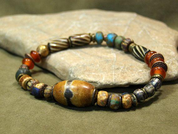 Mens Bracelet  Tribal Jewelry  Unique Jewelry  by StoneWearDesigns